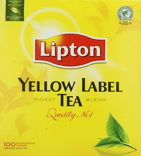 Lipton Yellow Label Black Tea - 100 Tagged Tea Bags - 100% Black Tea